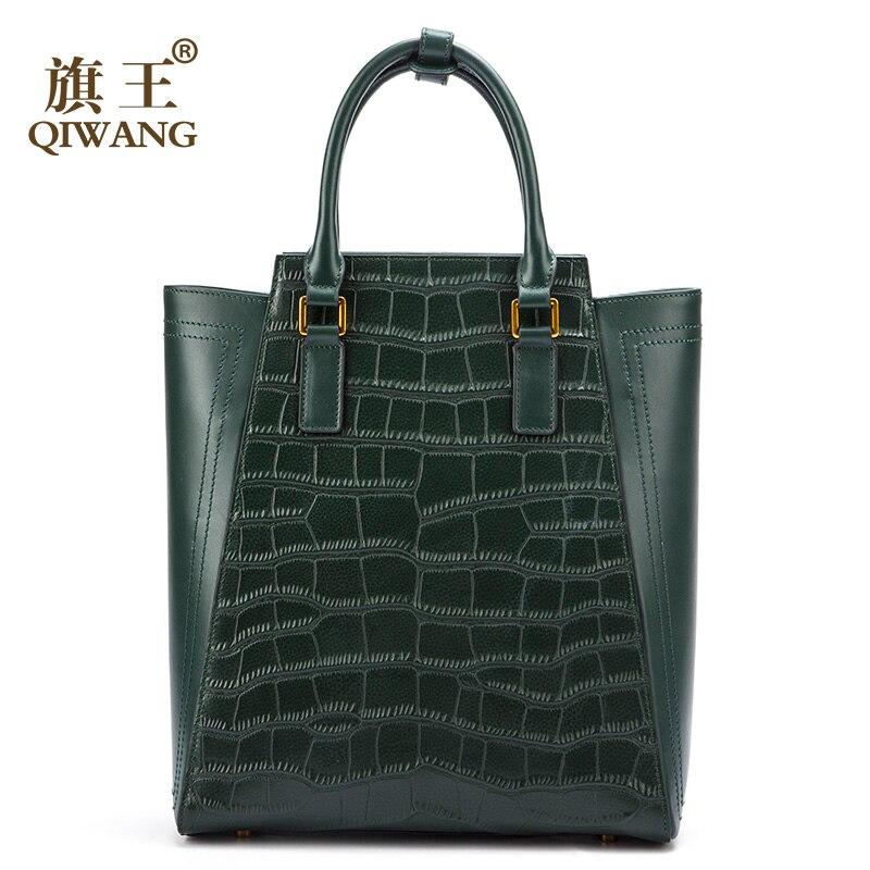 Qiwang Large Green Tote Bag Genuine Leather Women Crocodile Bags Luxury Brand Design Handbag Female Fashion