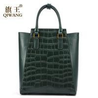 Qiwang большой зеленый сумка пояса из натуральной кожи для женщин Крокодил сумки Элитный бренд дизайн сумки женские модный кожаный рюкзак про