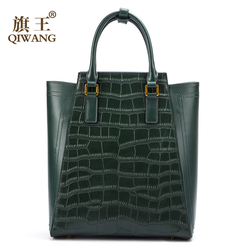 Qiwang Large Green Tote Bag Genuine Leather Women Crocodile Bags Luxury Brand Design Handbag Female Fashion leather bag Sales crocodile retro women bag luxury women design fashion retro leather tote handbag solid bucket bag design fashion bags