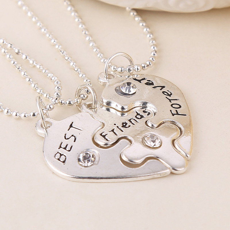 Xmas Gift <font><b>BFF</b></font> Statement <font><b>Necklace</b></font> <font><b>3</b></font> pcs Best <font><b>Friends</b></font> Forever Silver Color <font><b>Necklaces</b></font> Collar Friendship Heart Charm Pendant Gift image