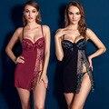 Clarete negro lencería Sexy traje de cuidado de gaza Sexy de encaje Floral pijamas de la gasa transparente llena Slips para para 2016