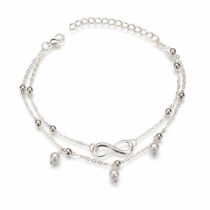 BOHO Милая буква Бесконечная любовь ножной браслет и браслет, имитация жемчуга Многослойная цепь лодыжки Braclet для женщин летние пляжные украшения