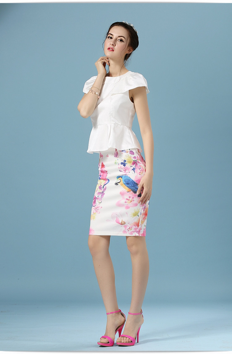 Elegant Office Pencil White Floral Bird Print High Waisted Skirt 2