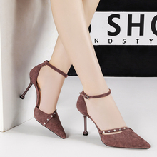 Newest Buckle Strap Crystals Blink Flock Pumps Women Luxury Pointed Toe Thin High Heel Womens Shoes Elegant Wedding Party
