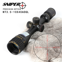 SNIPER NT 3.5 10X40 AOGL Hunting Riflescopes Tactical Optical Sight Full Size Glass Etched Reticle RGB Illuminated Rifle Scope