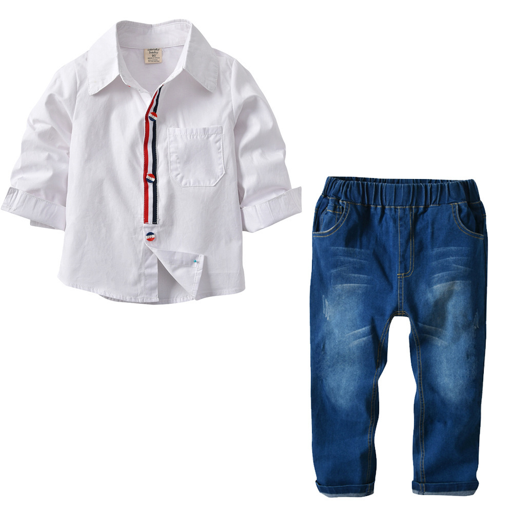 2018 spring cross border children's boy white color crash shirt denim suit two piece set перфоратор sds plus makita hr2631ft
