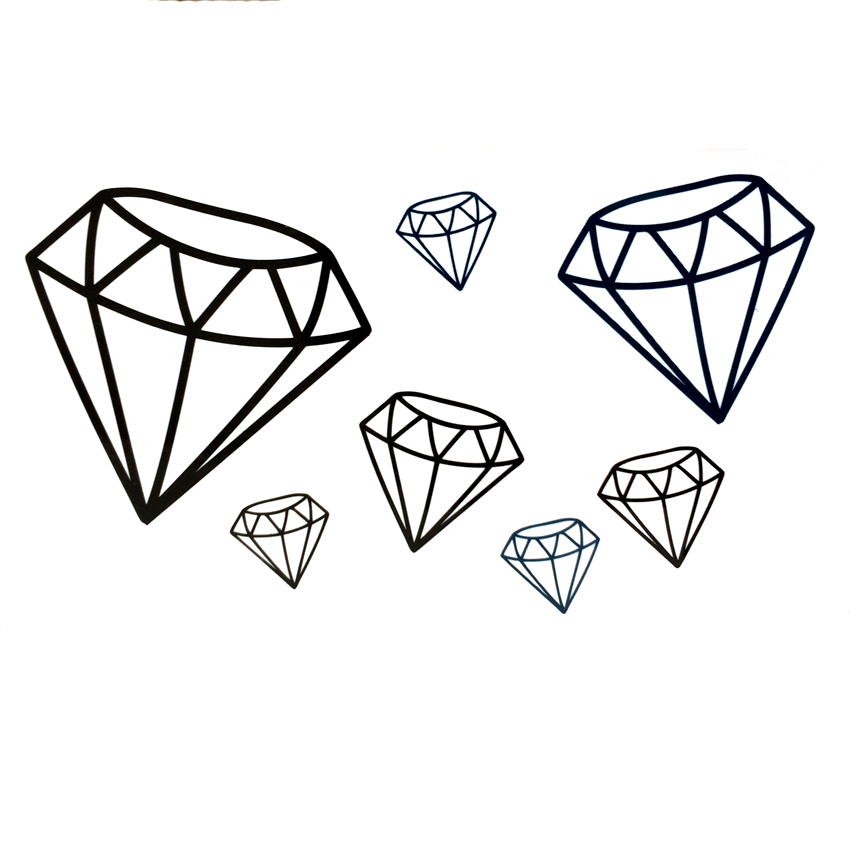 Black Diamond Waterproof Temporary Tattoos Sticke Harajuku Tattoo Body Art Car-styling Tatoo Sticker Tatuajes Temporales Sabanas