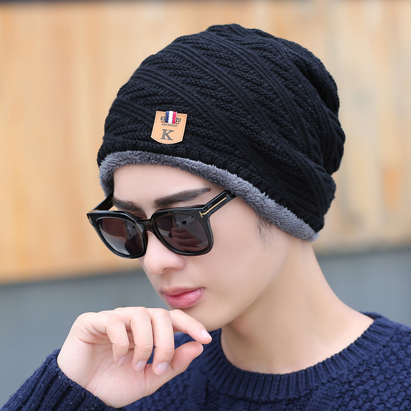 Men's Skullies Winter ski Wool Knitted Hat Male Brand Beanies Cap Casual Solid Color Sets Headgear Hats For Men bonnet dad hat wool skullies cap hat 10pcs lot 2289