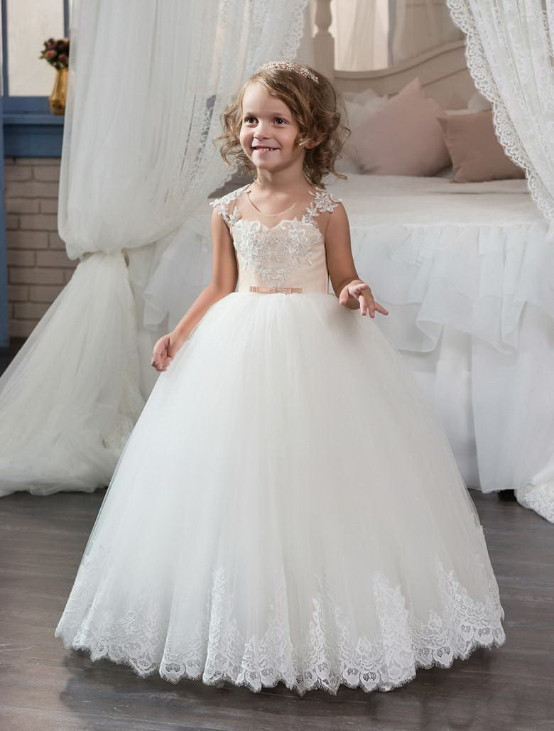Kids Pretty Ball Gown Unique Design Tops Flower Girl Dress for Wedding Party Pageant