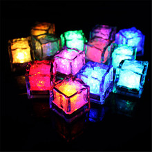 12 pieces flameless led submersible light candle,flameless color changing glow led ice cube for party