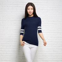 2017 New Spring Fashion Ladies Knitted Pullovers Half High Round Neck Rib Half Sleeve Elastic Accept