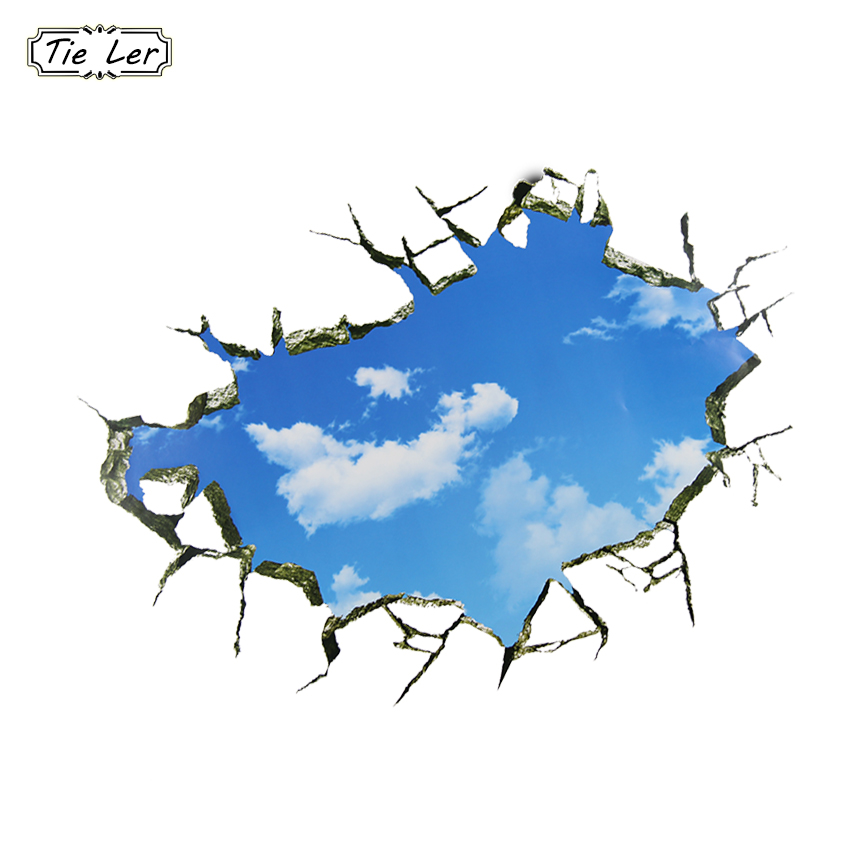 Blue Sky White Clouds Wall Stickers 3D Through Wall Removable Landscape Wall Decals Ceiling Kids Room Decoration Art Poster