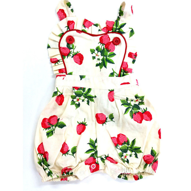 9cad0ae9a55 Baby Clothes Baby Rompers Strawberry Printed Girls Jumpsuit Toddler Girl  Clothing Newborn Baby Clothes Infant Kids Costume