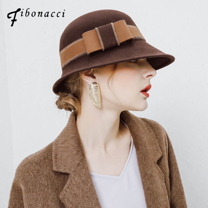 Classic Solid Color Hat Irregular Felt Fedoras Women Winter Bowler Hats  Elegant Ladies Church Hats Sombreros Fieltro Mujer 62a5073bc4b0