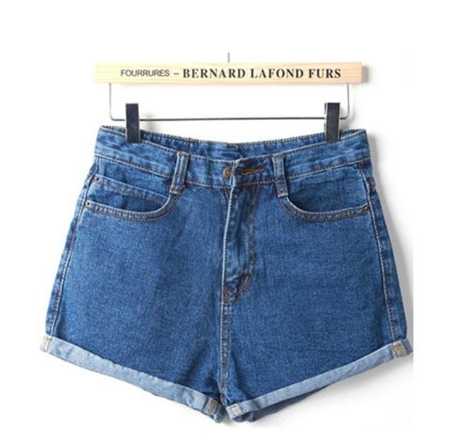 Nova Ondulação shorts jeans calças de brim das mulheres da moda verão Azul Do Vintage Feminino Marca Shorts Lady Casual Plus Size Short jeans 25-32
