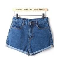 New Curling Denim Shorts Jeans Women Summer Fashion Blue Vintage Feminino Brand Shorts Lady Casual Plus