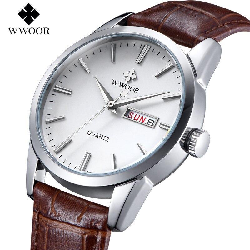 Wacth Men Brand WWOOR Luxury Genuine Leather Analog Quartz Watch Fashion Full Calendar Business Mens Watches Relogio Masculino