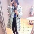Verdadeiro Casaco de Pele De Vison 100% Real Genuína Pele De Vison Longo Outwear inverno jaqueta preta de Luxo
