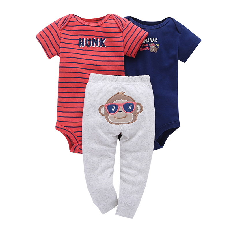 3pcs Real Cotton Fleece Full Infant Body For Bebes Boy Girl Clothes Set ,monkey And Mouse Model . Kids 3 Pcs Clothing 2018 New