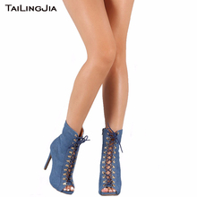 Fashion Woman Jean Blue Thin Supper High Heel Short Boots Sexy Peep Toe Lace Up Stiletto Summer Women Ankle Boots Free Shipping ladies sexy pointed toe blue denim lace up short boots super high heel jean ankle booties street fashion boots