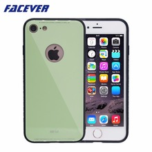 ФОТО facever luxury colorful tempered glass back cover case for iphone 7 8 4.7 inch business matte black silicone side case cover