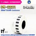 3 рулона  совместимые DK-22211 этикеткой 29 мм * 15 24 м  непрерывная Совместимость для принтера Brother Label  белый цвет  DK-2211