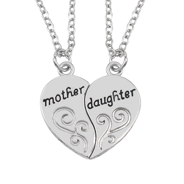 Hand stamped mother daughter charm choker necklace 2pcsset carved hand stamped mother daughter charm choker necklace 2pcsset carved broken heart pendant necklace for aloadofball Choice Image