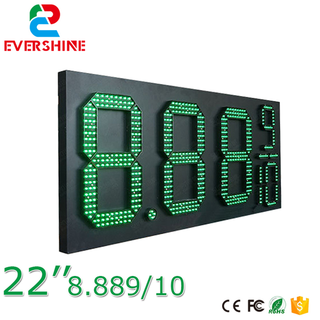 US $429 5 |22'' 8889/10 green outdoor waterproof digital led gas station  price signs board,oil price display led gas petrol price sign-in  Replacement