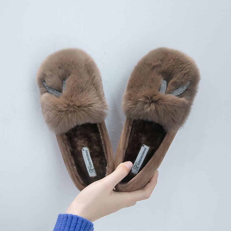 caqui Las Peludo De Piel Negro Fuera Mocasines Alpargatas Grueso Señoras Plataforma Crystal Superficial Algodón Calientes Zapatos Bling gris Fondo wUYORq