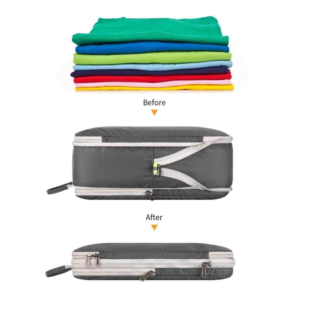 7 Gonex pçs/set Dupla Face Saco de Armazenamento De Bagagem Mala de Viagem Organizador Conjunto com 4 Cubos de Embalagem De Compressão Sacos Reutilizáveis