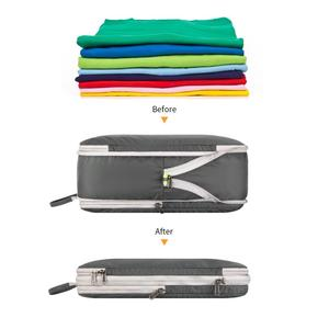 Image 2 - Gonex 3packs Soft Double Sided Compression Packing Cubes Set with 4 Reusable Bags, Suitcase Luggage Organizer Travel Storage Bag