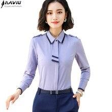 Naviu moda papyon uzun kollu bluz ilkbahar ve sonbahar kıyafetleri kadın şifon gömlek ofis kadın bluzları