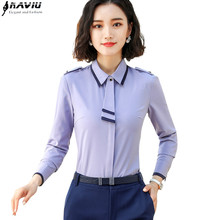 Naviu אופנה עניבת פרפר ארוך שרוול חולצה באביב ובסתיו בגדי נשים שיפון החולצה משרד ליידי חולצות