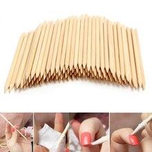 100 шт./упак. деревянные для ногтей палочки, профессиональные маникюрные педикюрные палочки для отодвигания кутикулы, инструменты для ногтей со стразами