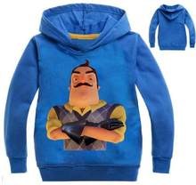 972b89078609 Новая Осенняя толстовка с капюшоном для мальчиков Привет сосед футболка для  рубашка для девочек с длинным