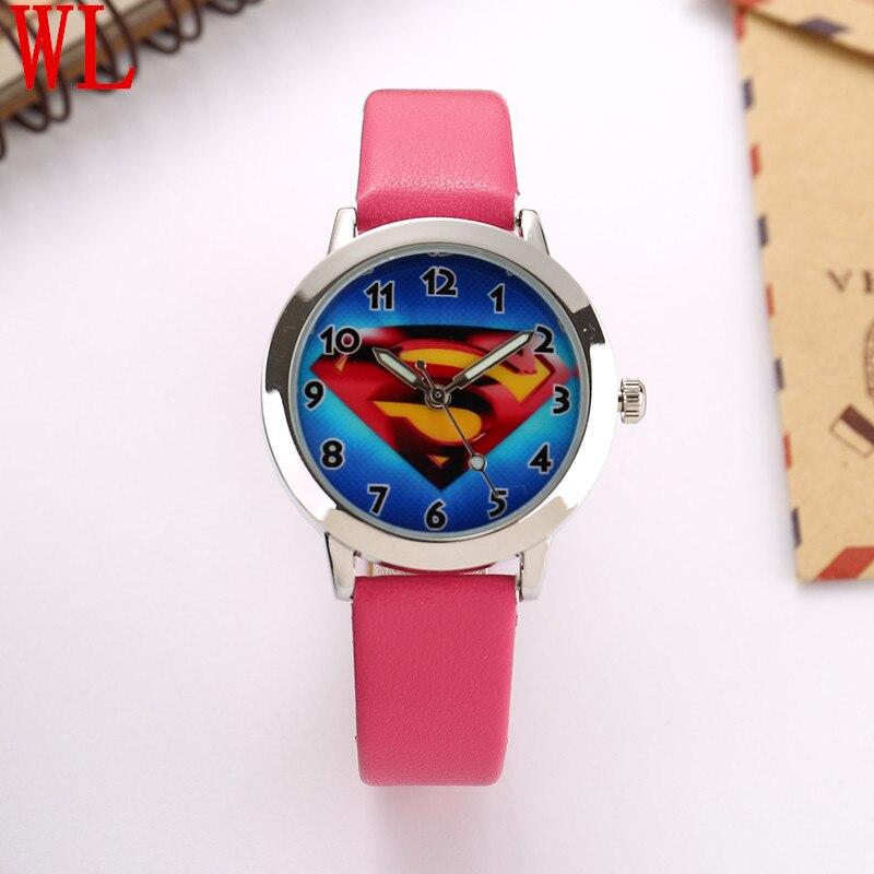 Free Shipping 10pcs/lot Wholesales Hot Sales 6colors Cartoon Superman Boys Kids Gifts Watch Quartz Small Leather Wristwatch