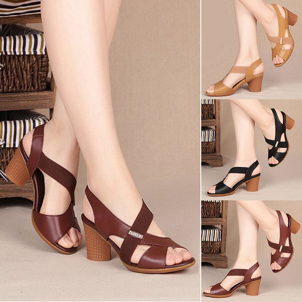 Fashion Shoes Woman Casual Sandals Open Toe Thick Waterproof Ankle Strap Square High Heel Sexy Wild Fish Mouth Sandals Women