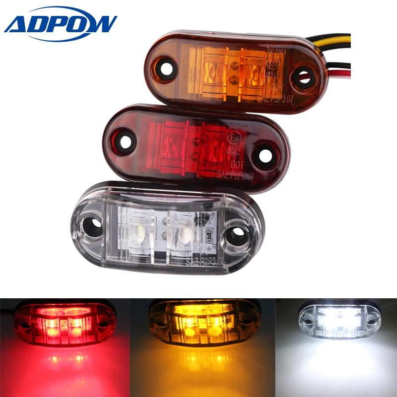 24v 12v  1pc Led Side Marker LED Light For Cars Trucks Trailers Clearance Lamp Lights For Trailer Boat Lorry Van White Red Amber