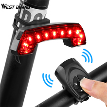 цена на WEST BIKING MTB Bike Light USB Rechargeable Warning Cycling Rear Light Smart Wireless Remote Control Horn Tail Light Turn Signal