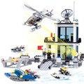 Comisaría Building Blocks Establece Modelo 536 unids Helicóptero Lancha Bricks Educación de BRICOLAJE Juguetes Para Niños