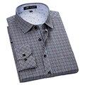 Autumn 2016 Men's Long Sleeve Contrast Plaid Shirts Square Collar Classic-fit Cotton Blend Unelastic Business Casual Dress Shirt