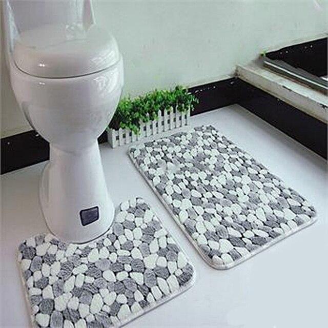 2 psc/ set stone pattern soft bathroom bath pedestal mat toilet