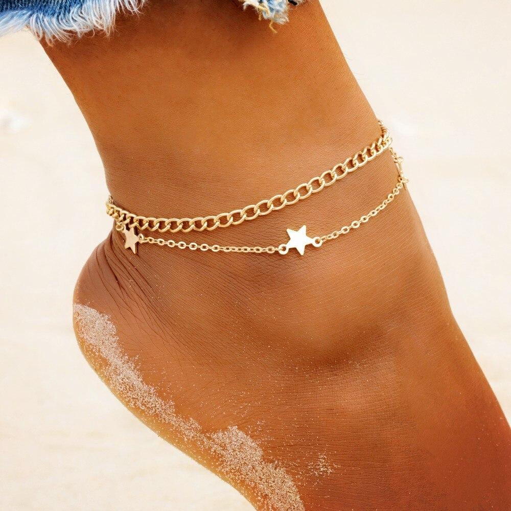 Pieds Nus Bracelet De Cheville Pied Jambe chaîne argent étoile de mer Charme Femmes Rétro Bijoux
