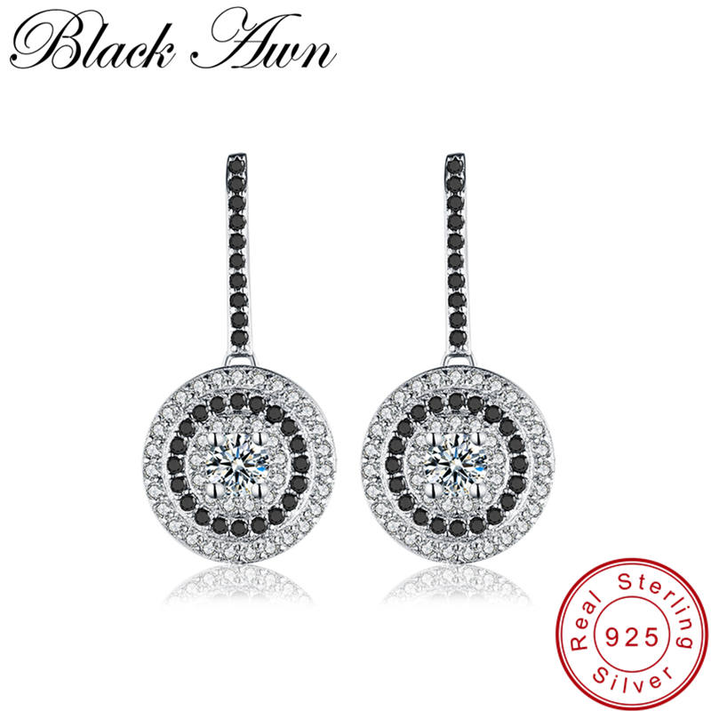 [BLACK AWN] Genuine 4.2g 925 Sterling Silver Fine Jewelry Wedding Round Stud Earrings For Women Black Spinel Female Earring T005