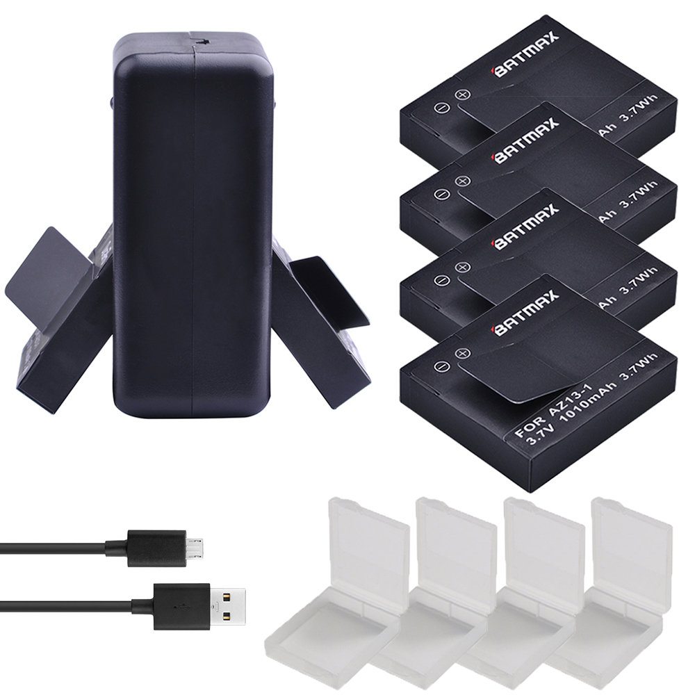 For 4Pcs 1010mAh Original Xiaoyi Battery AZ13 1 Battery USB Dual Charger for Xiaomi Yi XiaoYi