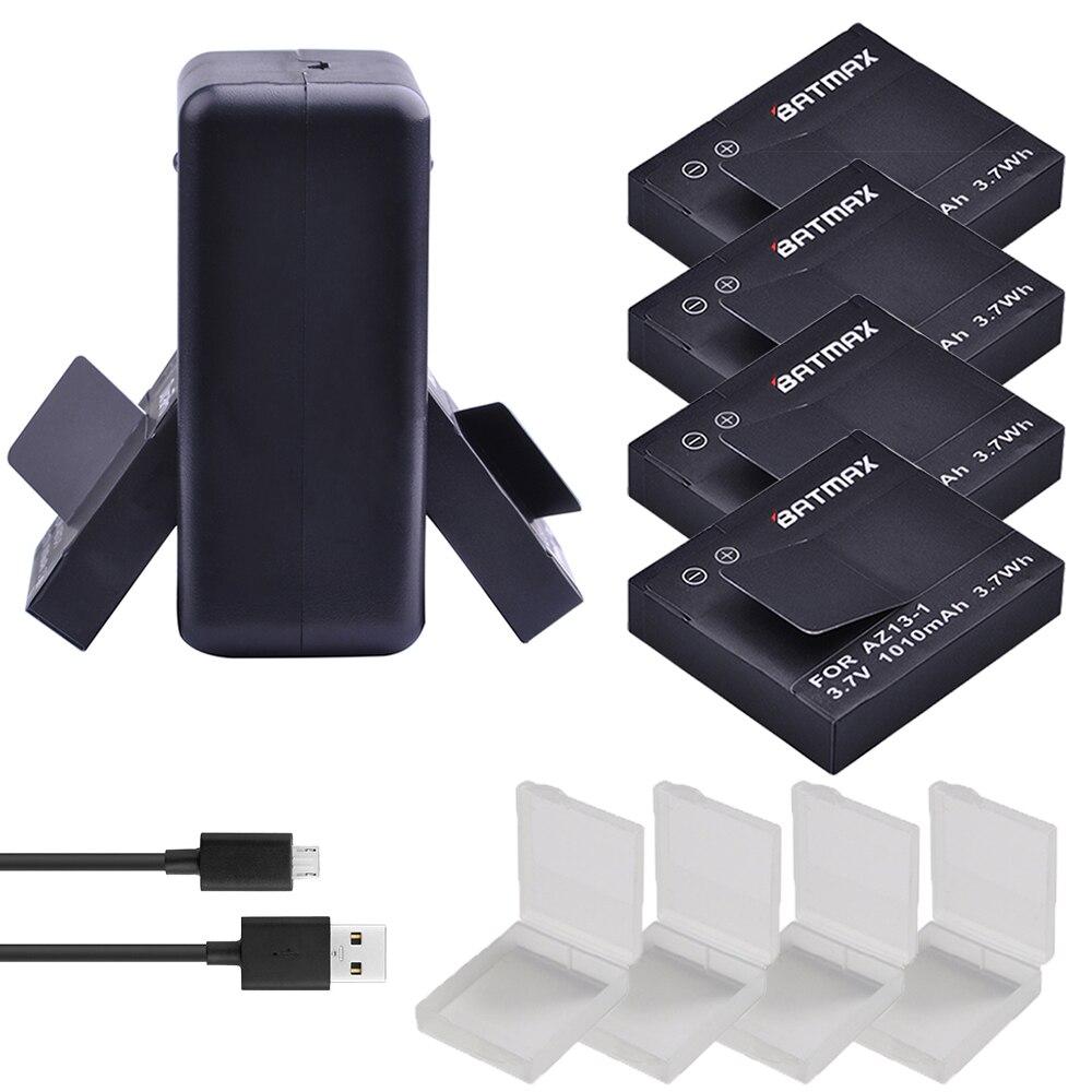 Per 4 pz 1010 mah Originale Xiaoyi Batteria AZ13-1 Battery + USB Caricatore Doppio per Xiaomi Yi XiaoYi di Azione di Sport macchina fotografica DV Cam