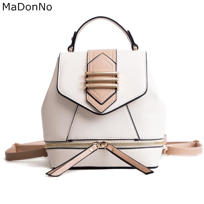 MaDonNo Brand Women Fashion Backpack Pu Leather Mini Backpacks Women School Bags For Teenage Girls Bags TBG008