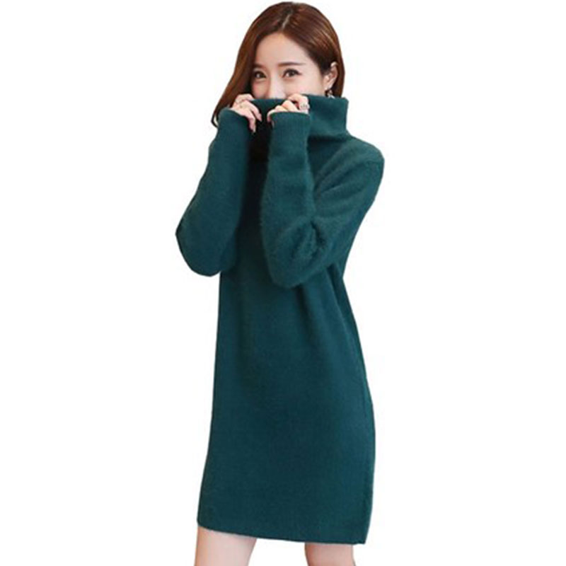 High quality Women Sweater Dress Spring Autumn New High Collar Loose plus size warm winter sweater knit Dresses vestidos LJ240