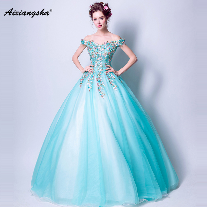 Search For Flights 2018 Blue V-neck Short Sleeves Ball Gown Long Appliques Flower Elegant Quinceanera Dresses Vestido De Debutante Ball Gown Dress Reliable Performance