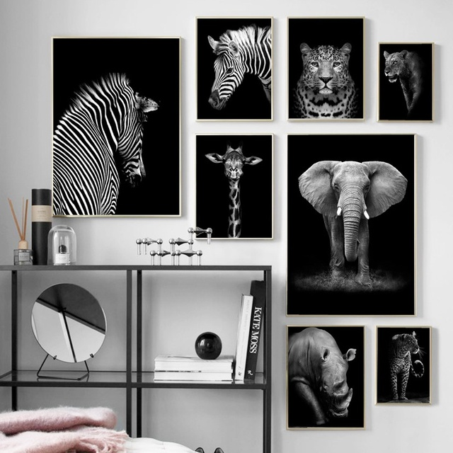 Black White Elephant Giraffe Zebra Wall Art